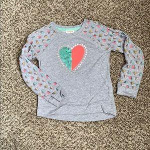 Cat & Jack Girls Sequin Heart Sweatshirt M (7/8)